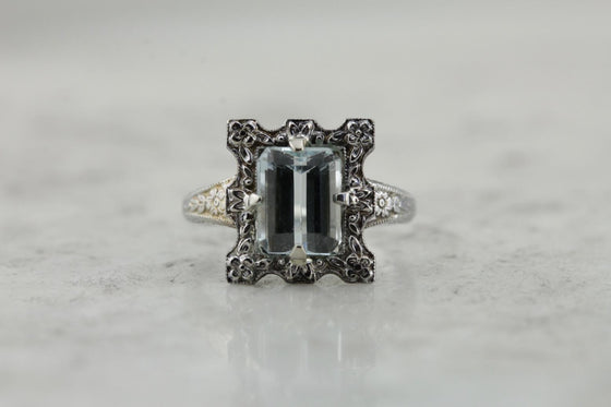 Floral Framed, Stunning Antique Aquamarine Ring in Floral Art Deco Mounting