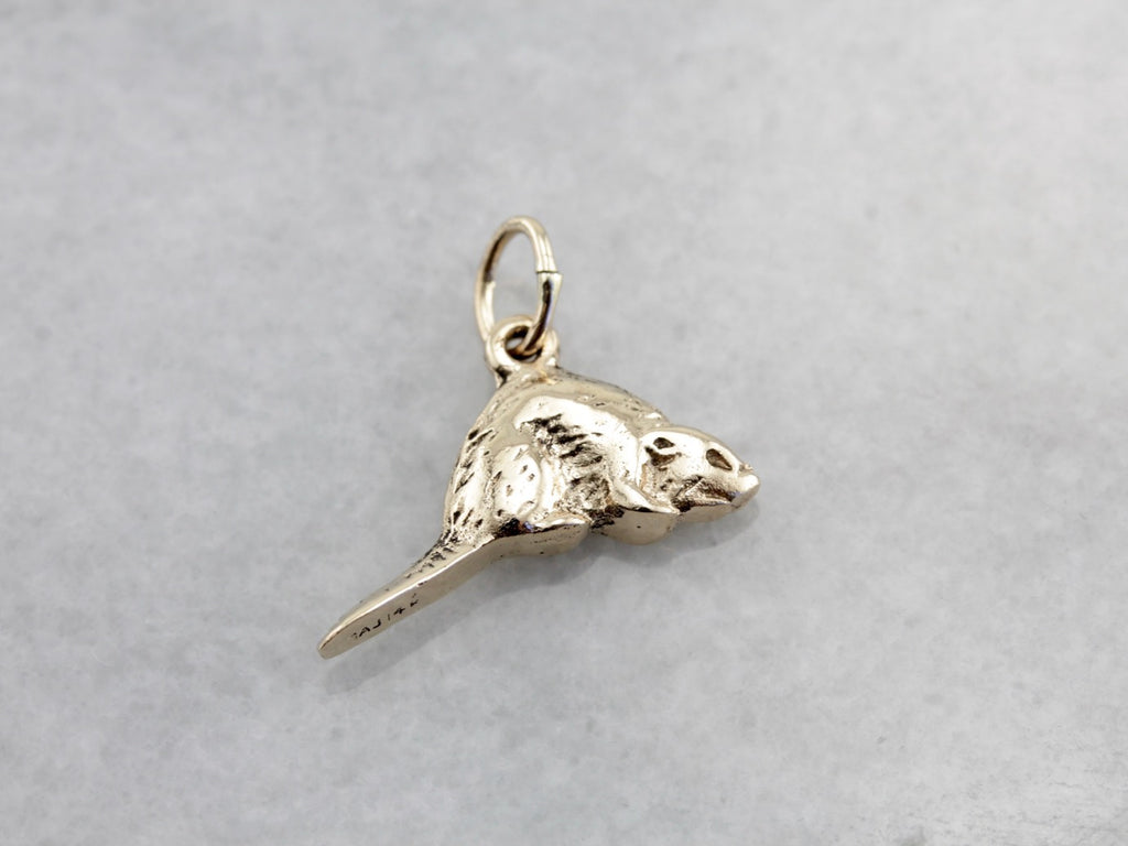 Handsome Little Beaver Charm or Layering Pendant
