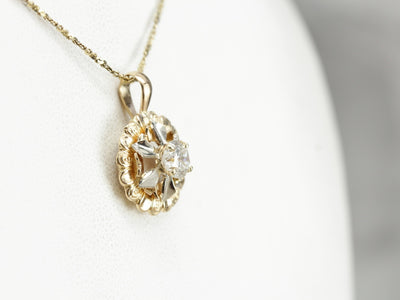 Yellow and White Gold Diamond Pinwheel Pendant