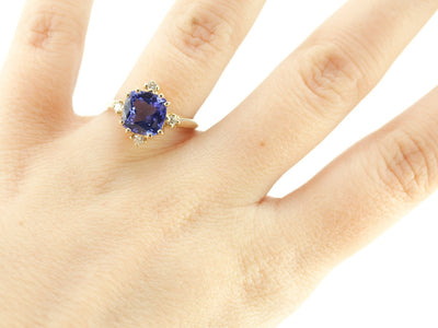 Catherine in Royal Hues: Fine Tanzanite and Diamond Ring from the Elizabeth Henry Collection