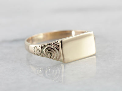 East to West Rectangular Signet Ring with Scroll Engraved Shoulders
