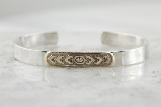 Victorian Rose Gold & Simple Sterling Silver Cuff Bracelet