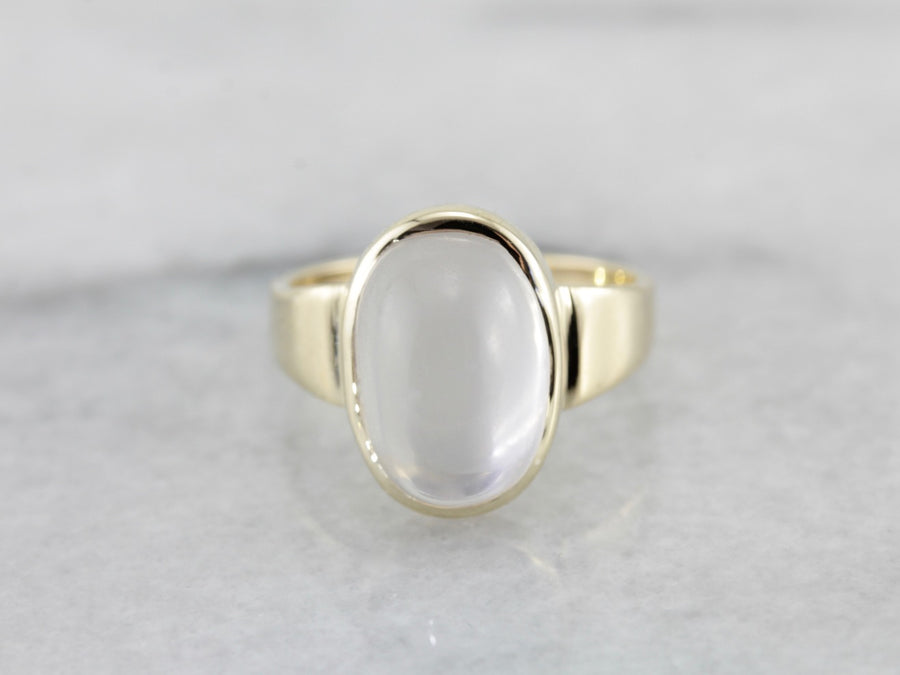 Minimalist Bezel Set Moonstone Ring in Yellow Gold