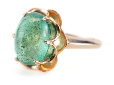 Flora Emerald Cabochon Cocktail Ring by Elizabeth Henry