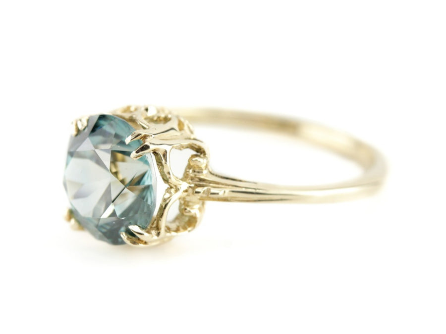 Blue Zircon Yellow Gold Alice Ring By Elizabeth Henry