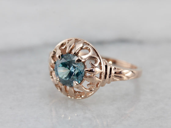 The Parkside Blue Rose, Blue Zircon Cocktail Ring from The Elizabeth Henry Collection