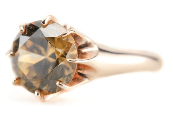 Golden Zircon Ring in The Woodman Rose Gold Setting by Elizabeth Henry
