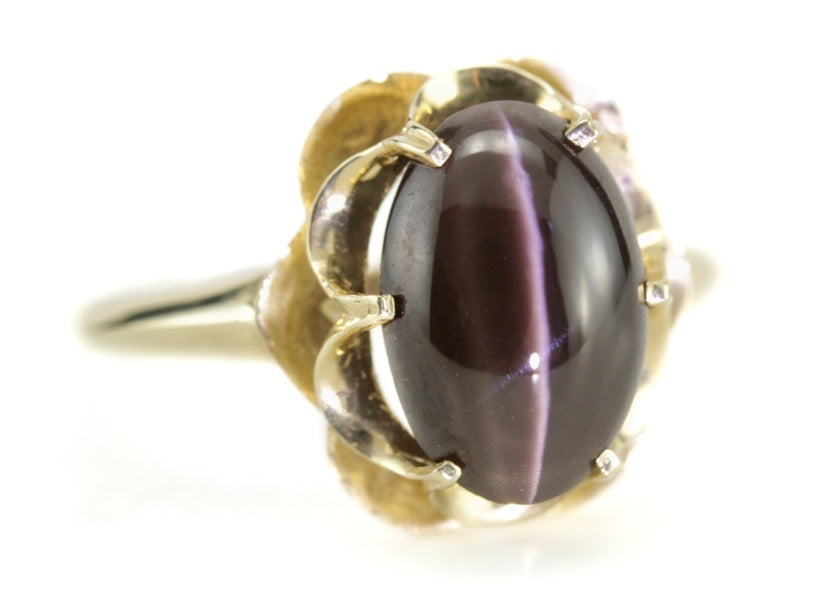 Cat's Eye Sillimanite Flora Ring by Elizabeth Henry