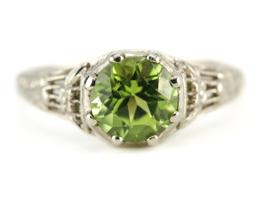 The Wreath Peridot Solitaire Ring by Elizabeth Henry