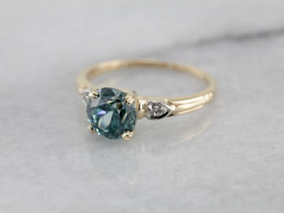 Vintage Blue Zircon Diamond Accented Solitaire Ring
