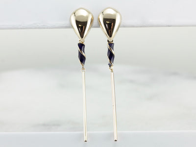 Blue Enamel Swirl Accented Bar Drop Earrings, Long Contemporary Drops