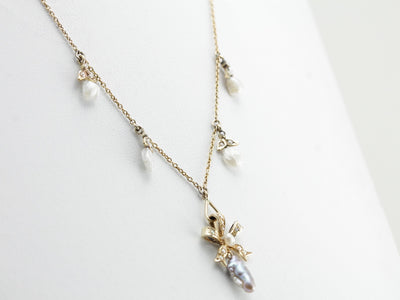 Art Nouveau Natural Pearl Bow Motif Drop Necklace, Amazing Antique Bridal Necklace