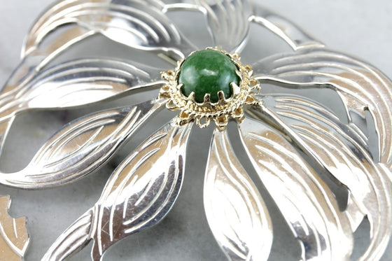 Green Eyed Susan: Vintage Sterling Silver and Jade Brooch