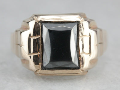 Retro Men's Hematite Gold Statement Ring