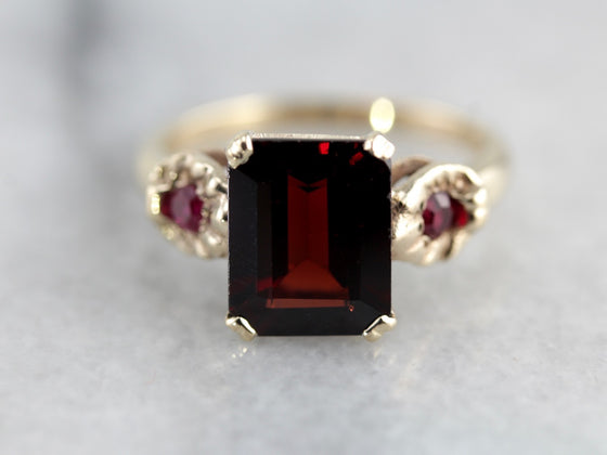 Garnet Statement Ring with Synthetic Ruby Accents in Yellow Gold