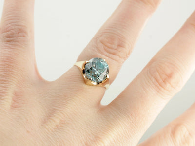 Sleek, Modernist Style Blue Zircon Solitaire Ring
