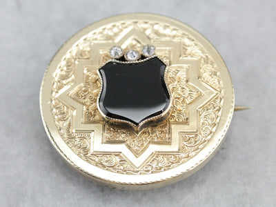 Onyx Diamond and Gold Victorian Pendant or Brooch