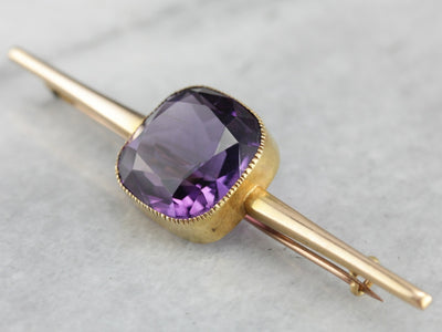 Antique British Bar Pin with Fine Amethyst