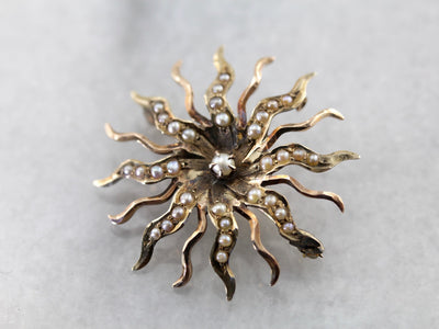 Antique Victorian Seed Pearl Sun Brooch in Antique Rose Gold