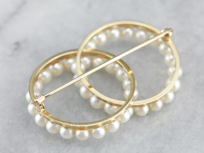 Love Knot: Double Circle Pearl Brooch for the Bride to Be, Traditional Veil or Bouquet Accent