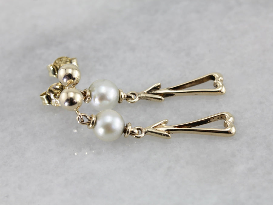Vintage Pearl and Gold Drop Earrings