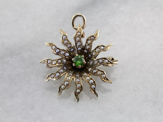 Antique Seed Pearl Sunburst Pin or Pendant with Demantoid Garnet Center