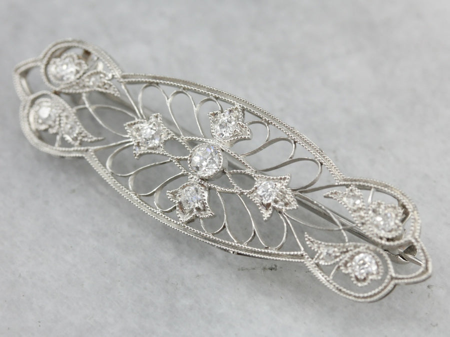 Edwardian Old Mine Cut Diamond Platinum Filigree Pin