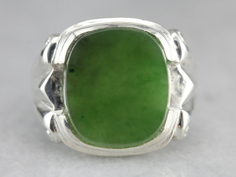 Sterling Silver Jade Statement Ring
