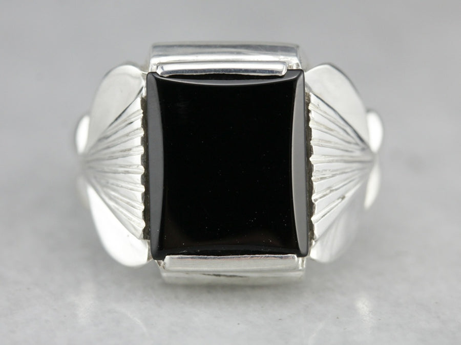 Sterling Silver Black Onyx Statement Ring