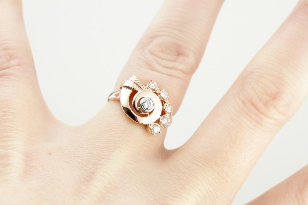 Retro Rose: Vintage 1940's Diamond Cocktail Ring in Rose Gold, Retro Era Diamond Cocktail Ring
