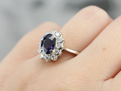 Stunning Color Changing Sapphire and Diamond Kate Middleton Style Cocktail Ring