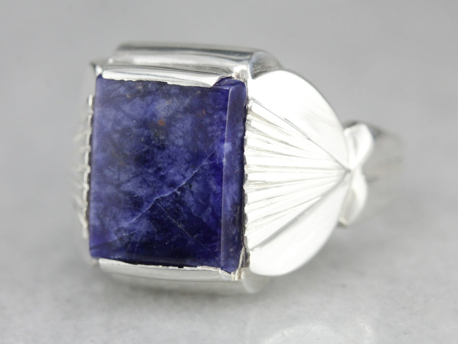 Sterling Silver Sodalite Statement Ring