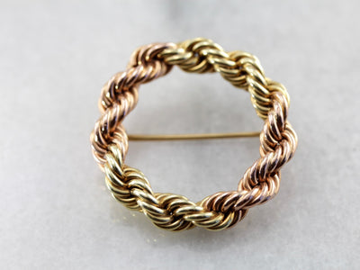 Vintage Circle Pin, Mixed Colors of Gold, Rope Chain Wreath