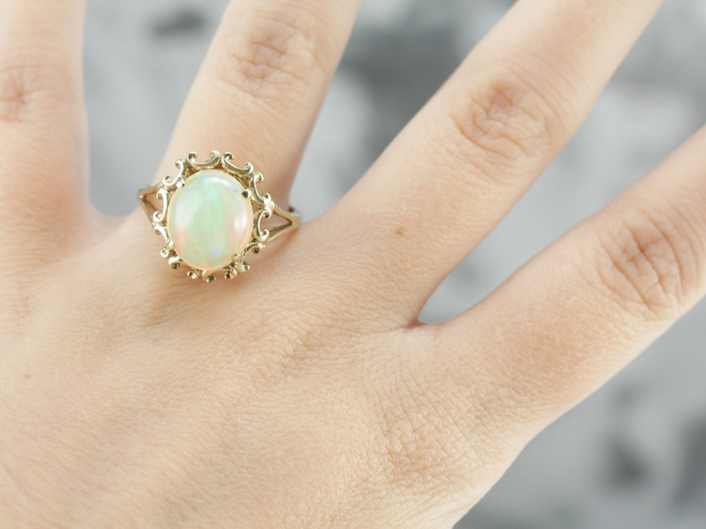 Pink Flash Ethiopian Opal Cocktail Ring