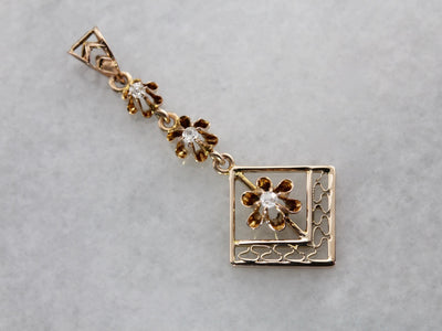 Antique Buttercup Set  Diamond Lavalier Pendant in Rose Gold