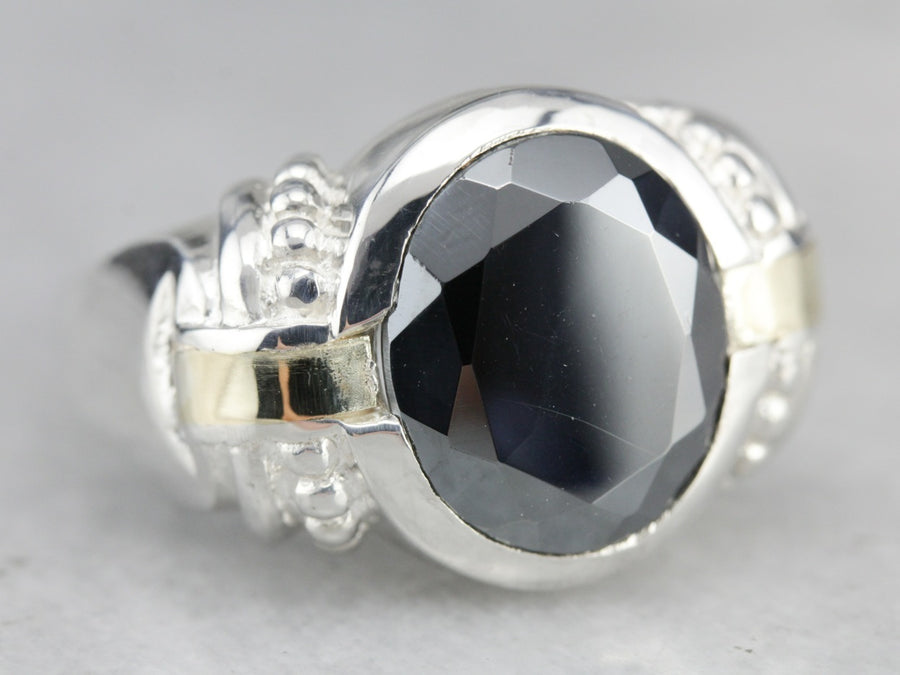 Mix Metal Faceted Hematite Statement Ring