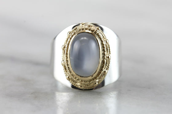 The Modern Maharaja: Moonstone and Mixed Metal Cocktail Ring