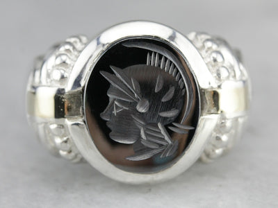 Mix Metal Hematite Intaglio Statement Ring