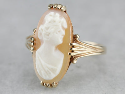 Vintage Mid Century Cameo Gold Ring