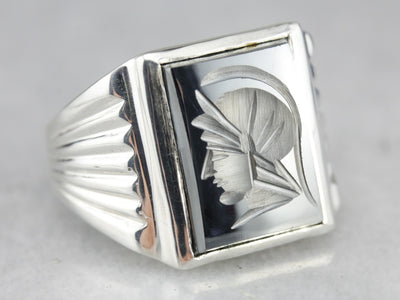 Hematite Intaglio Statement Ring