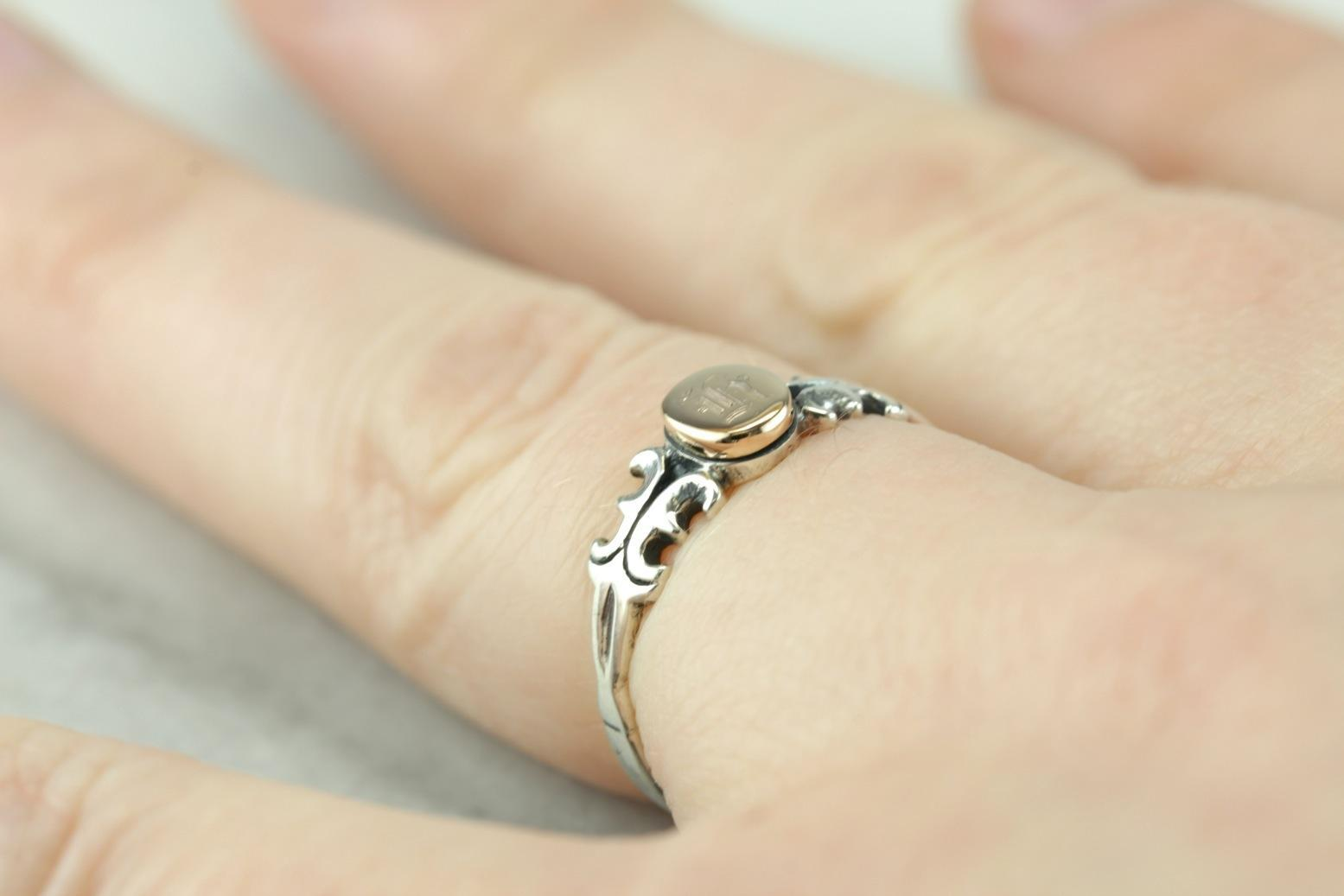 Upcycled H Signet Ring in Silver and Gold
