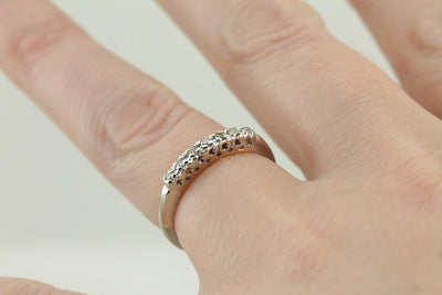 Seven Diamond Wedding or Anniversary Band, Small Diamonds with Fine Metal Work