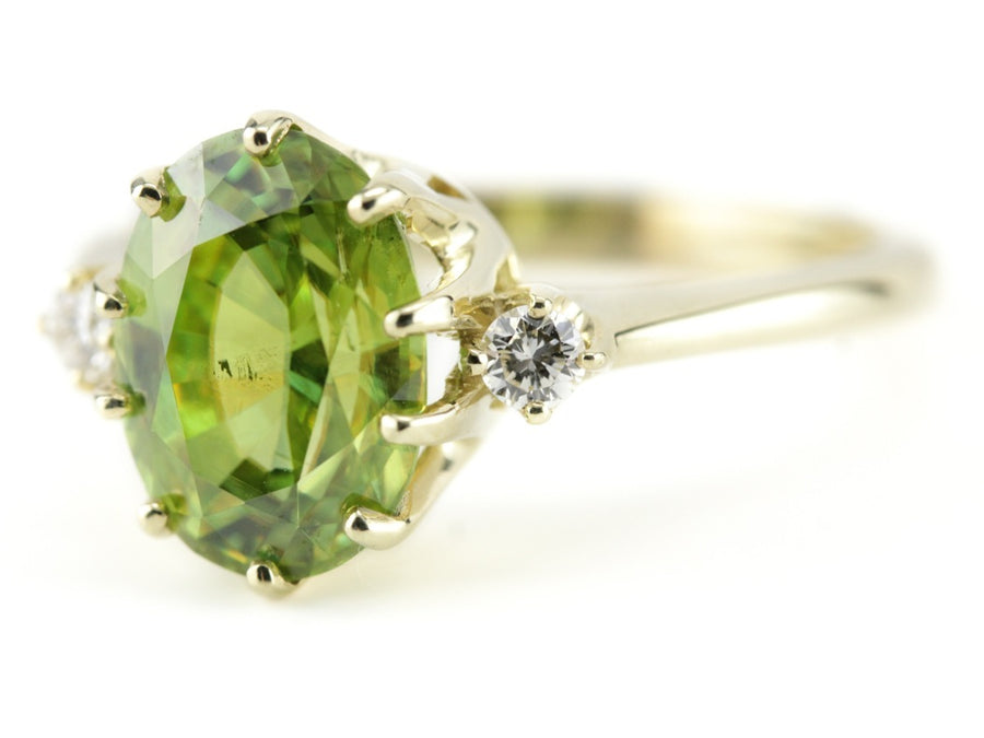 Sphene Cocktail Ring in The Green Gold Layla Mounting by Elizabeth Henry