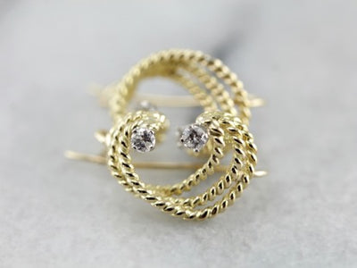 Diamond and Rope Curve Earrings in Yellow Gold