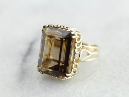Bold Smoky Quartz Ring with Rope Detailed Undercarriage