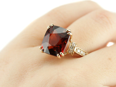 Hessonite Garnet And Diamond Edie Cocktail Ring from the Eh Collection