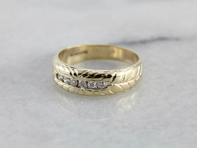 Handsome Unisex Diamond Wedding Band with Hand Engraved Pattern