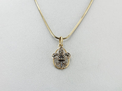 Seed Pearl Fleur De Lis Pendant in Yellow Gold with Loop Style Frame