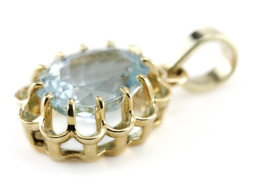 The Elsie Aquamarine Scalloped Pendant by Elizabeth Henry