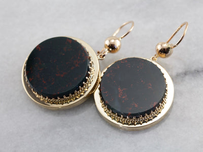 Large Bloodstone Drop Earrings in Yellow Gold